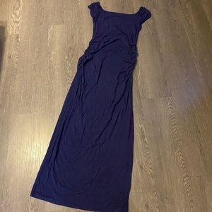 Navy Blue Off the Shoulder Maternity Gown